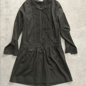 J.Crew Military Green Wool Blend Pleated Dress 4